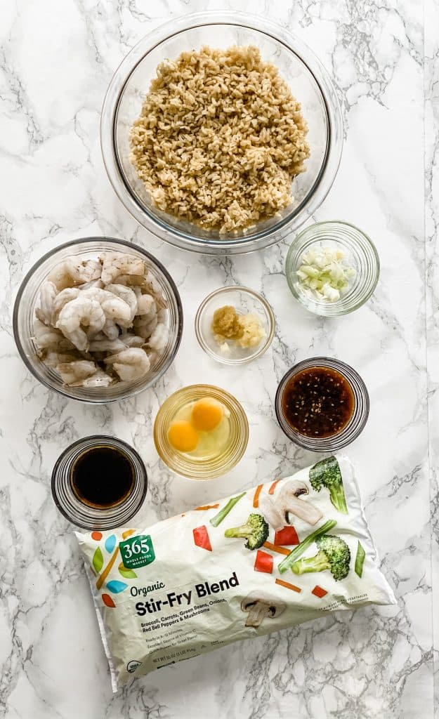 ingredients for quick shrimp fried rice