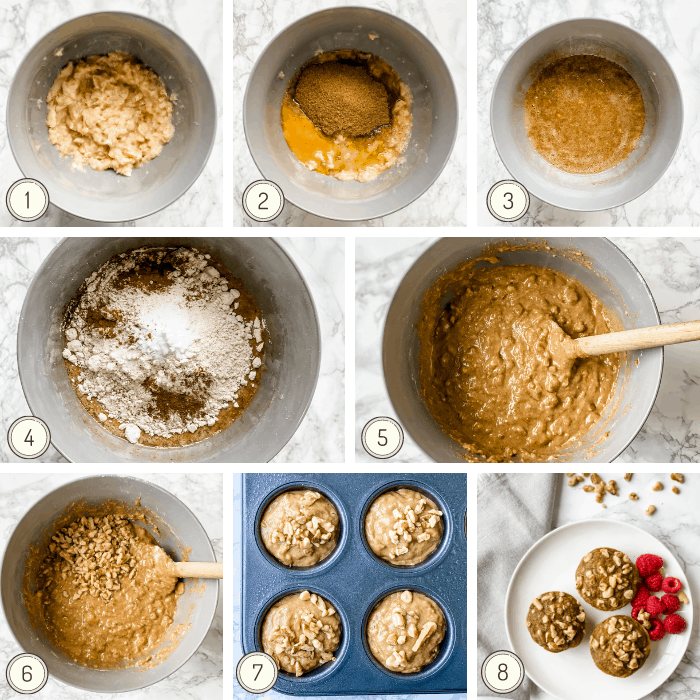 step by step photos to make healthy banana nut muffins