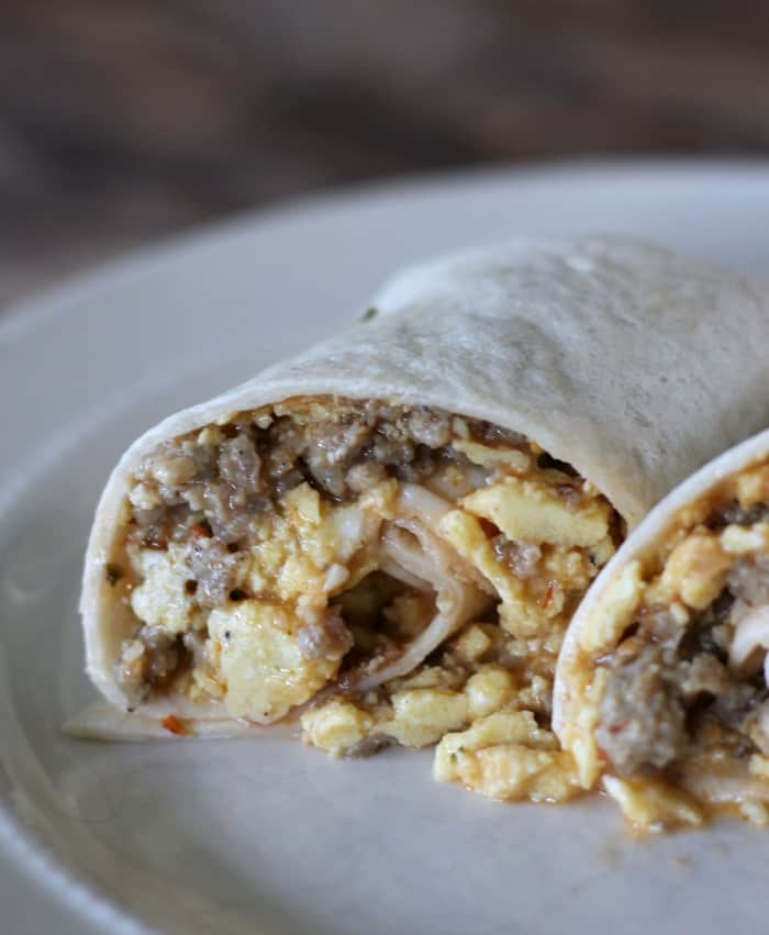 Make-ahead Freezer Sausage and Egg Breakfast Burrito