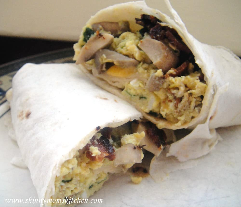 Freezer Breakfast Burritos: Mushroom, Bacon, Spinach, and Cheese