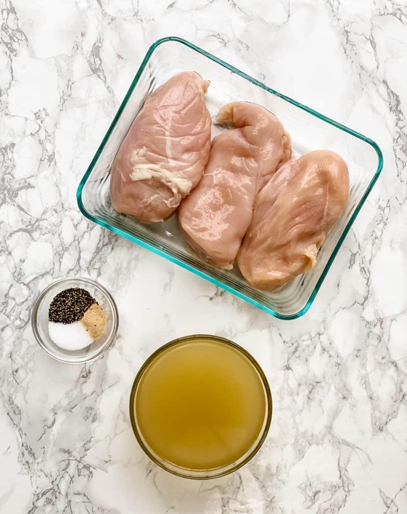 ingredients for basic slow cooker shredded chicken