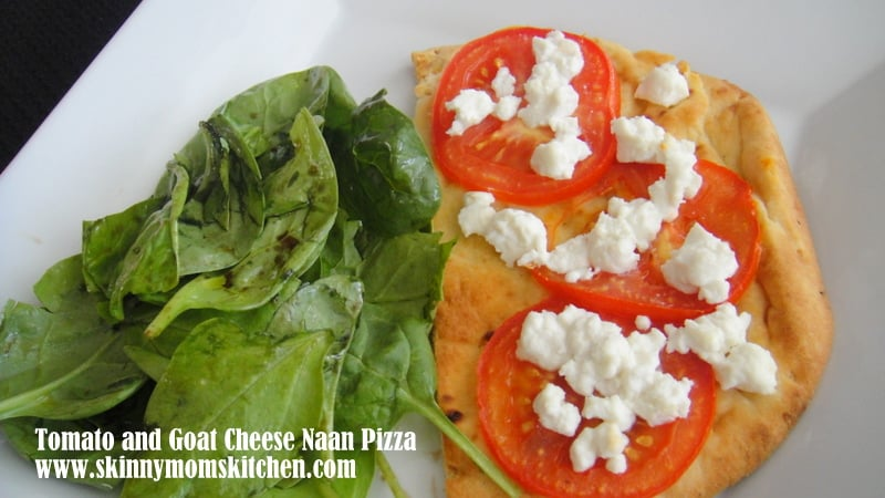 Tomato and Goat Cheese Naan Pizza