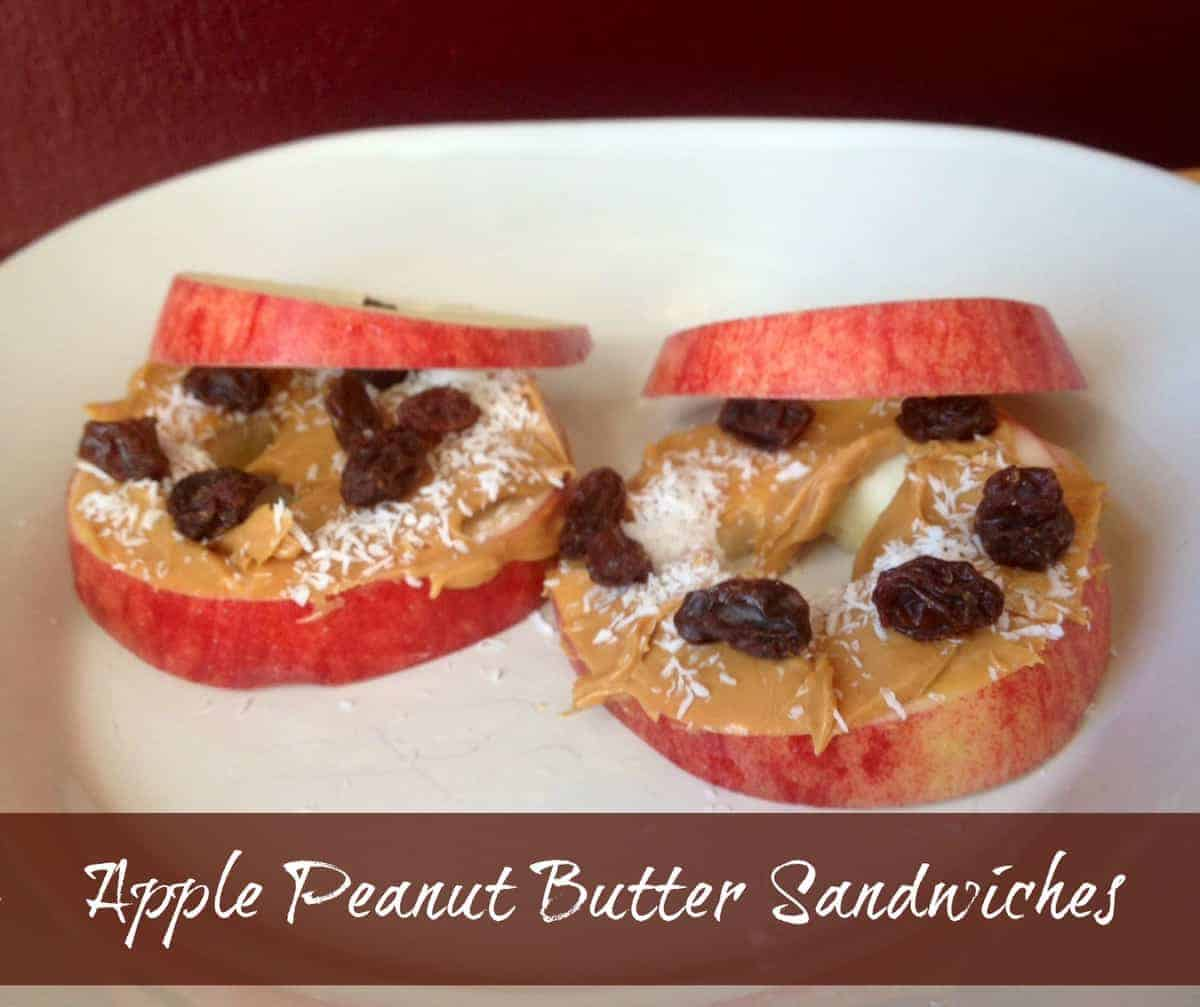 Afterschool Snack Apple Peanut Butter Sandwiches. My kids love these afternoon snacks