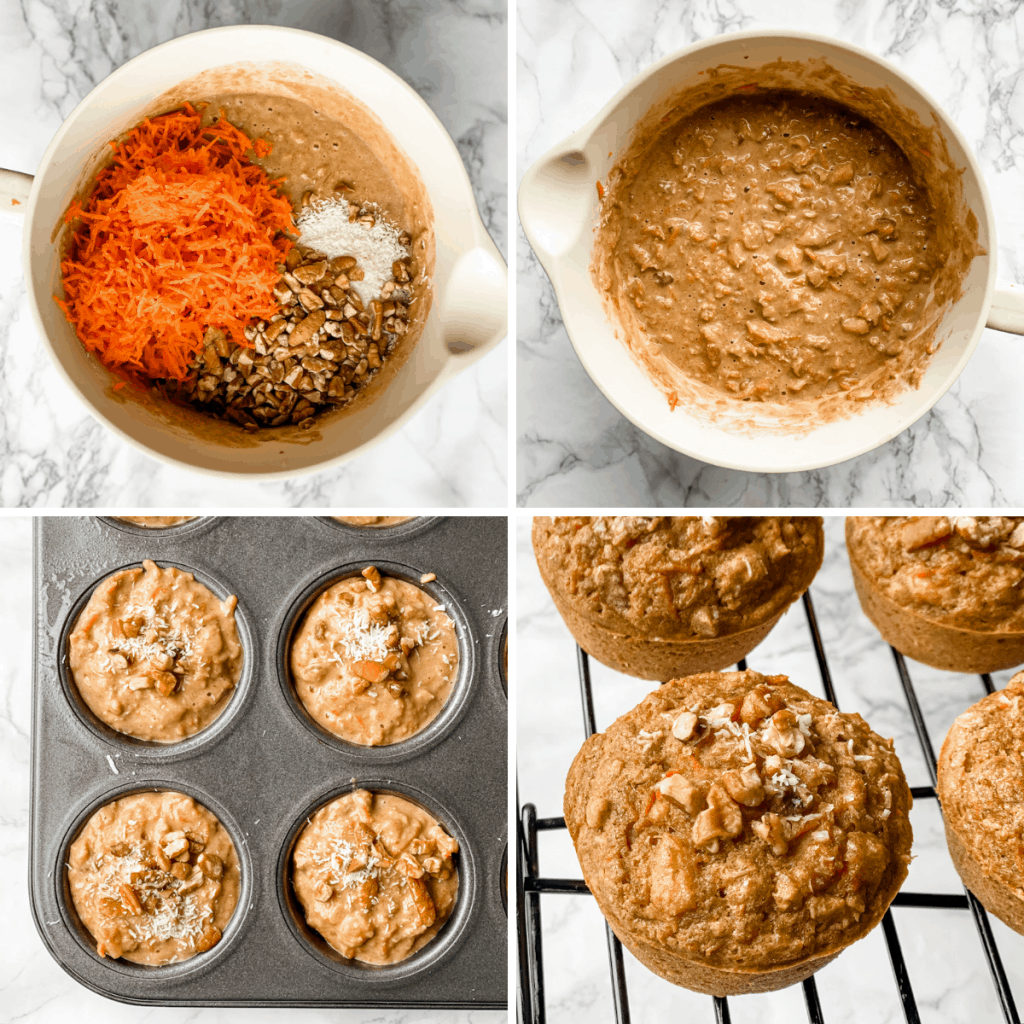 a second collage showing the final stages in putting togethe carrot muffins