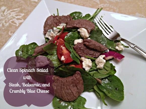 Clean Spinach Salad with Steak, Balsamic, and Crumbly Blue Cheese