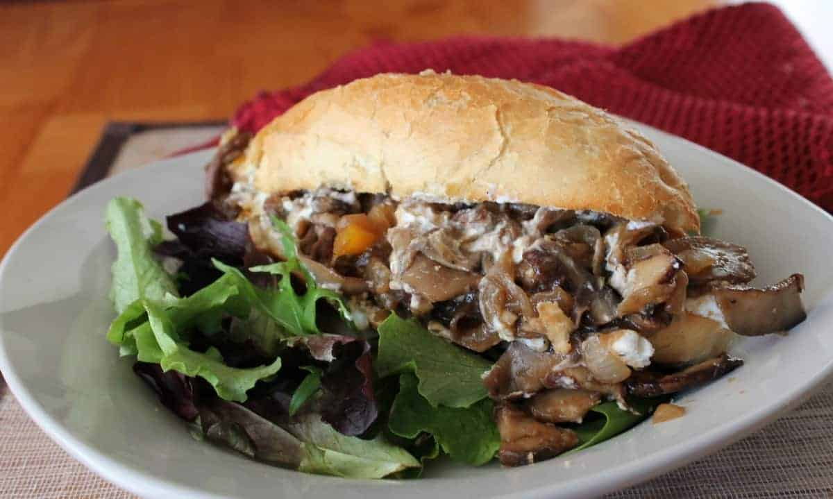 Clean Eating Balsamic Portobello and Goat Cheese Hoagies