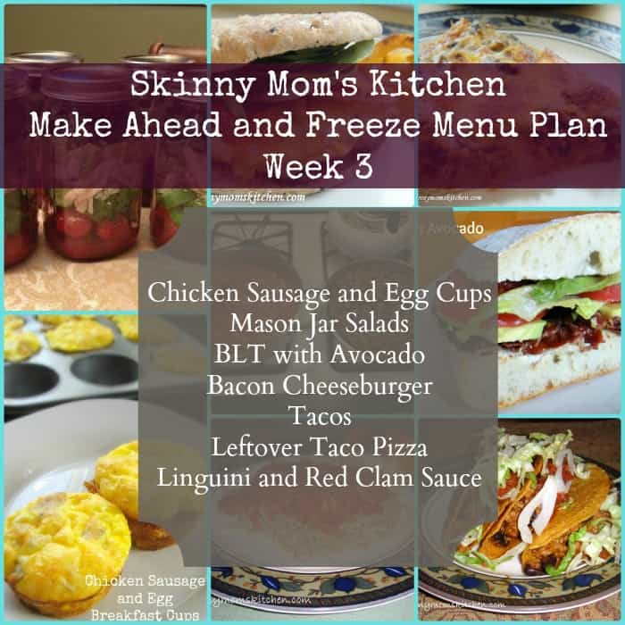 Skinny Mom's Kitchen make ahead and freeze menu plan. Recipes, grocery list, and make ahead instructions are included. #menuplan #cleaneating