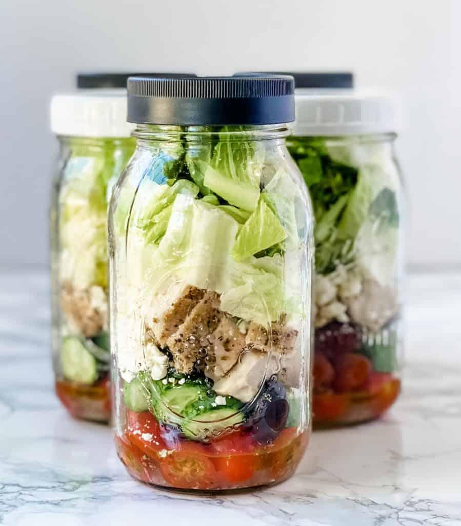 Keto Greek Salad in a Jar