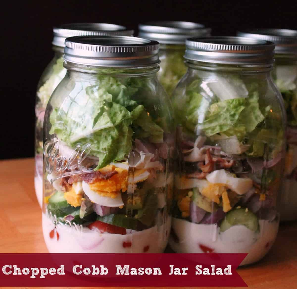 Chopped Cobb Mason Jar Salad - Organize Yourself Skinny