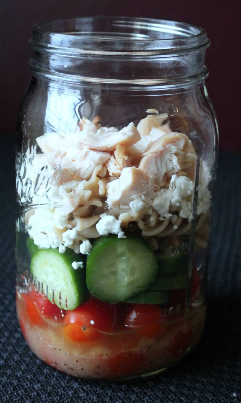 adding protein to mason jar salad