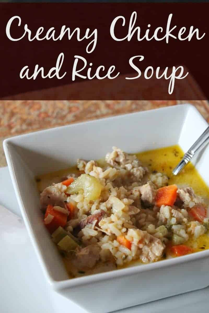 Healthy Creamy Chicken and Rice Soup - Organize Yourself Skinny