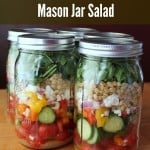 Mason Jar Salad: Farro, Feta, and Veggies. Salad in a Jar recipe