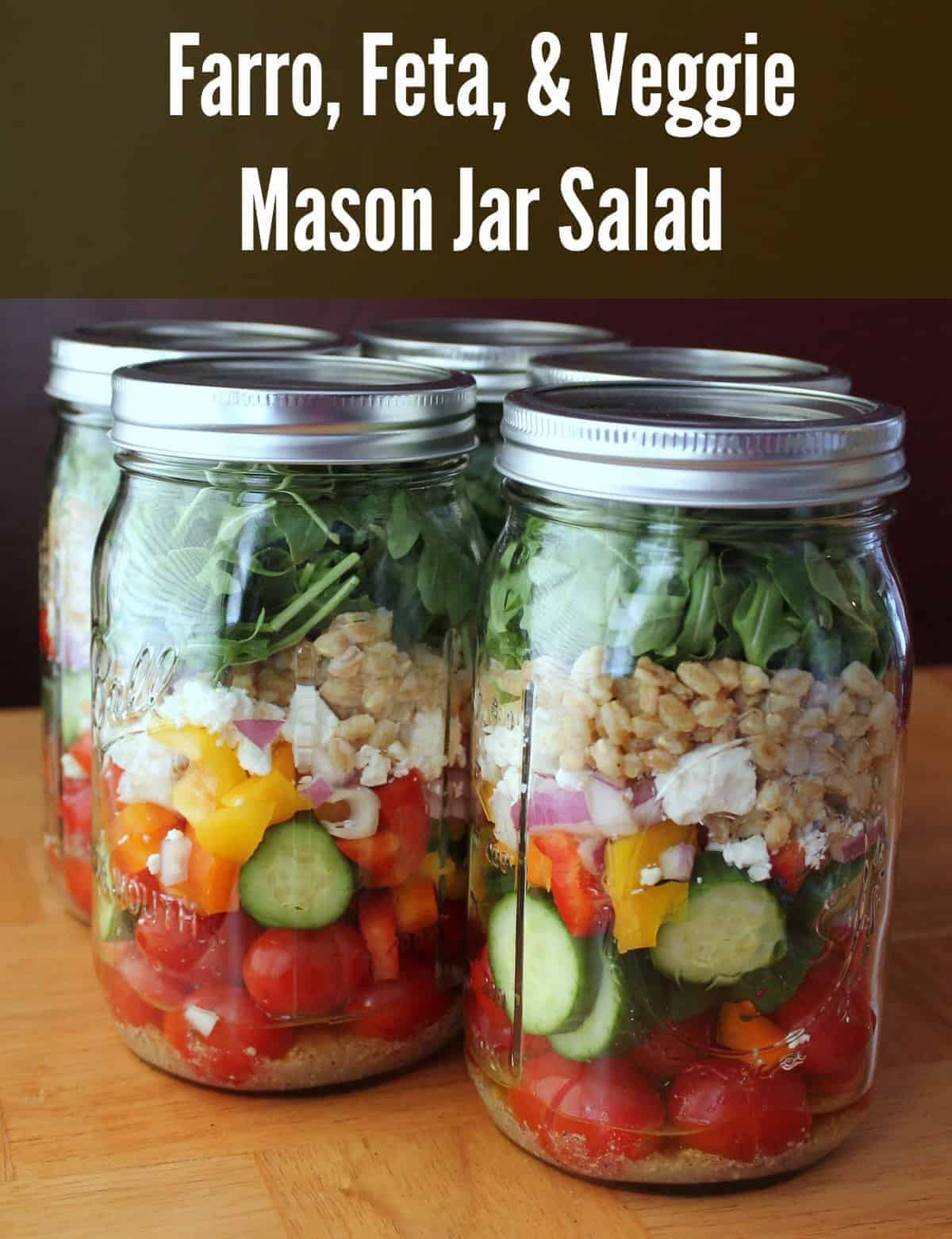 Mason Jar Salad: Farro, Feta, and Vegetables