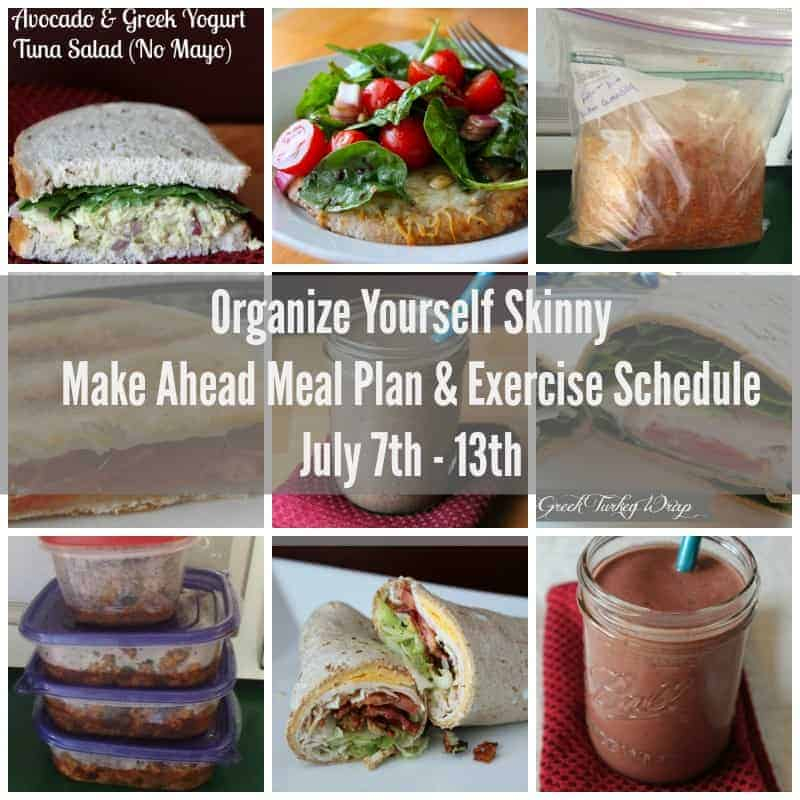 Make ahead meal plan and exercise schedule July 7th
