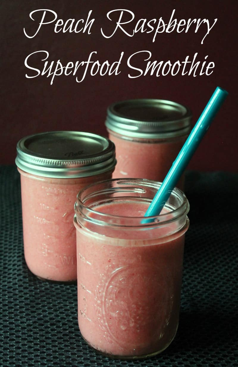 Peach Raspberry Superfood Smoothie 162 calories and 4 weight watchers points plus for a 3 cup serving