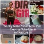 Weekly Meal Plan, Exercise Schedule, and Weigh In