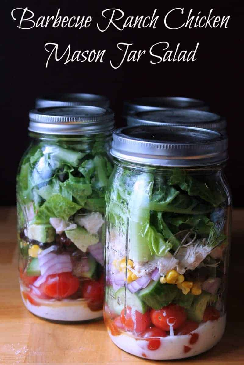 Barbecue Ranch Chicken Mason Jar Salad