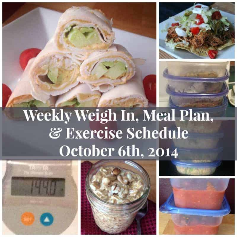 My Weekly Weigh In, Meal Plan, and Exercise Schedule October 6th