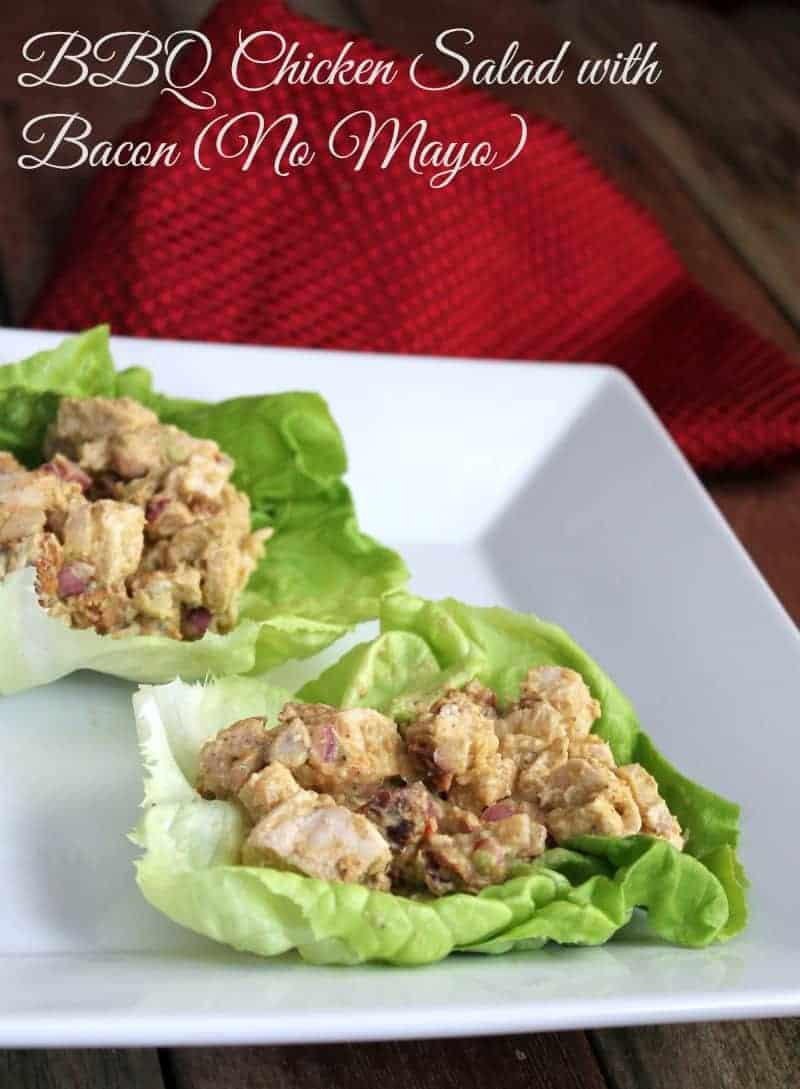 BBQ Chicken Salad with Bacon {NO MAYO) 180 calories and 5 weight watchers points plus