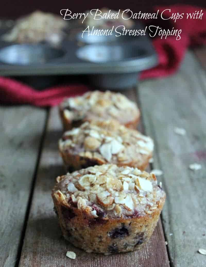 Berry Baked Oatmeal Cups with Almond Streusel Topping