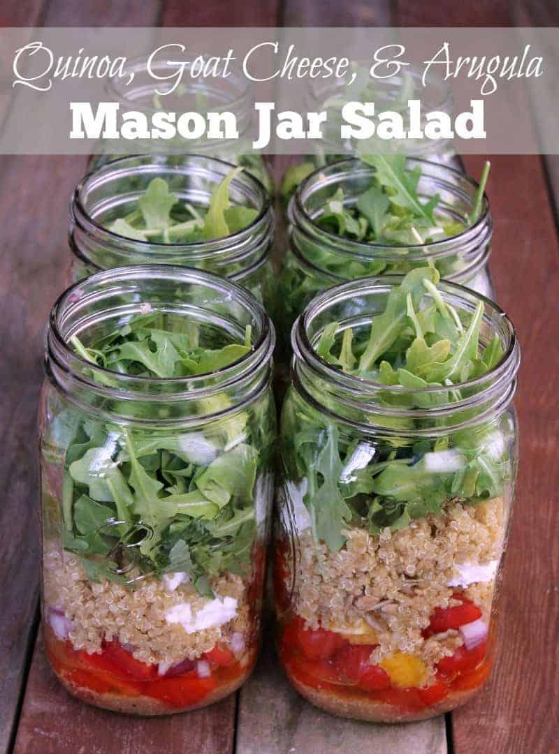 Quinoa Goat Cheese And Arugula Mason Jar Salad Recipe