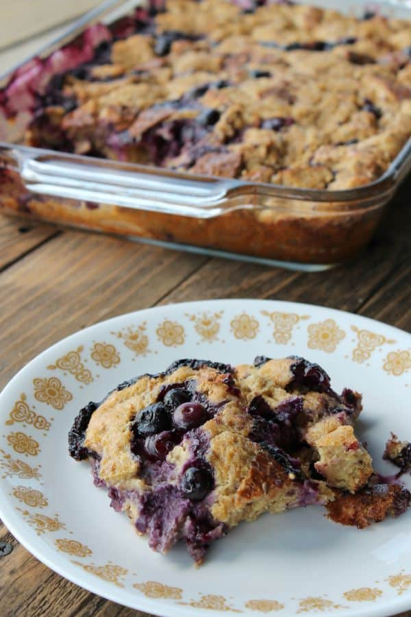 Make-ahead Blueberry and Greek Yogurt French Toast Bake 195 calories and 195 calories and 5 weight watchers points plus