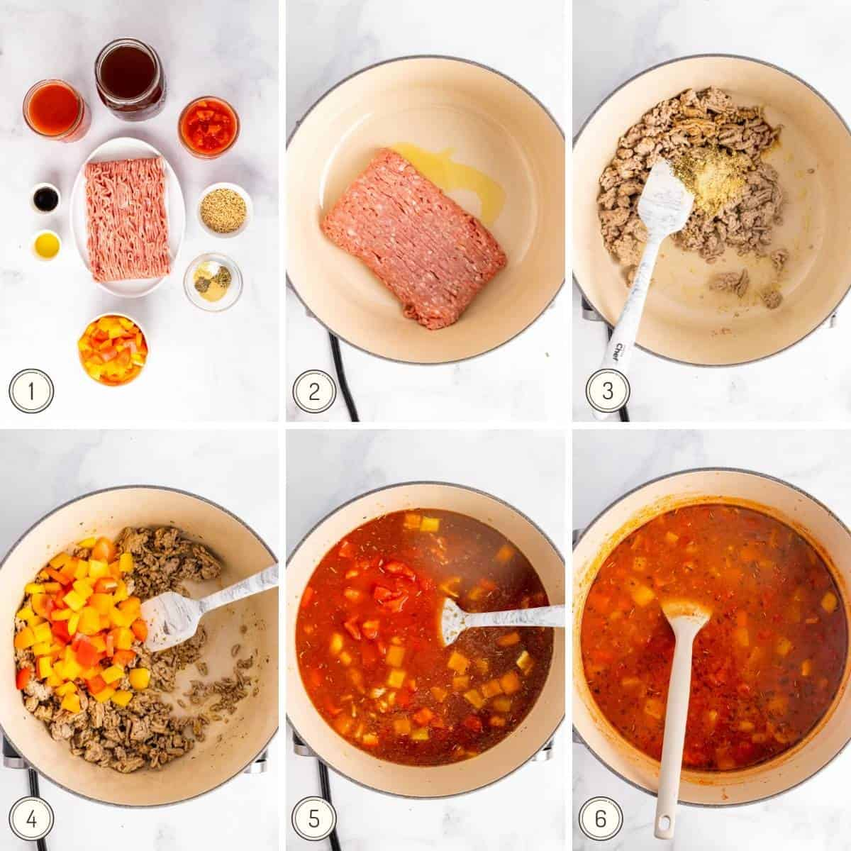 step by step collage showing how to make stuffed pepper soup