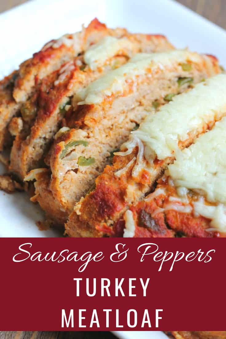 Turkey meatloaf recipe with sausage, peppers, and onions. Ground turkey recipes. Healthy turkey meatloaf