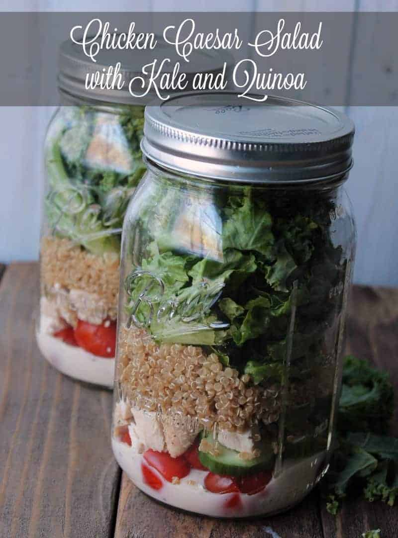 Chicken Caesar Mason Jar Salad with Kale and Quinoa