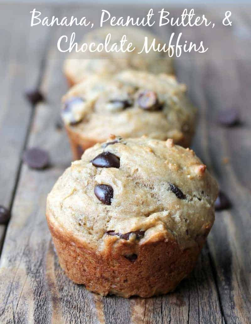 Banana, Peanut Butter, and chocolate muffins. Make ahead breakfast recipe
