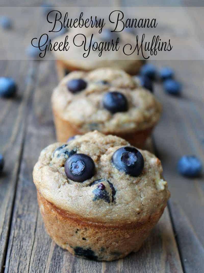 Blueberry Banana Greek Yogurt Muffins