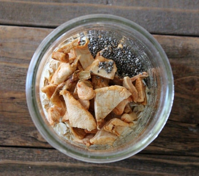 mason jar filled with rolled oats, chia seeds, dried apples and cinnamon
