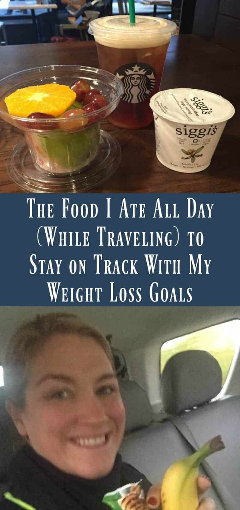 """Healthy Dining Out While Traveling: Yes, Virginia, There Is A Way So I was in Chicago last week and spending a lot (i.e.: all) of my meals out and about and I kept getting asked """"How do you stay on track when you're away?"""" I've already shared my """"5 Tips for Stayig Healthy While Traveling"""" with you (https://www.organizeyourselfskinny.com/2016/05/12/5-simple-tips-to-stay-healthy-while-traveling/) but I thought it be helpful to see a photo journals of a healthy day when every single thing you consume came from a restaurant. Here we go: I started the day with 24oz of water. Early AM Uber ride from my hotel to SoulCycle Loop. I was concerned I'd only want to eat a little bit that I needed some carb fuel to make it through a 60-minute spin class, so I went with some Nature Valley crunchy granola bars, a banana and an iced coffee: I arrived at SoulCycle an hour and a half early (I'm blaming the time change) so I stopped for an espresso and some more fruit: SoulCyle was a crazy good workout, and I had another 24oz of water during and after. Then I decided on another snack after. This time I had some protein in A Siggi's yogurt and more fruit, with an iced black tea: About an hour after the snack, I realized I was going to be in trouble. I have been working so hard at increasing my rate of metabolism, and apparently today it kicked back into high gear. On these days, I know I need to add volume with fresh fruits and veggies but also add healthy oils and protein to feed the beast (my metabolism). I had another 24oz of water in hopes I could trick my body into thinking it was full. Fail. LOL I stopped off for 32oz of club soda, and salad with shrimp, a hardboiled egg AND avocado. I used 2tsp of olive oil on my salad, as well: I could feel my legs getting tight as the afternoon progressed, so I stretched again, and had another 24 ounces of water and another banana. I had a business dinner and went with more club soda, a tricolore salad and some grilled veggies with a polenta pa"""