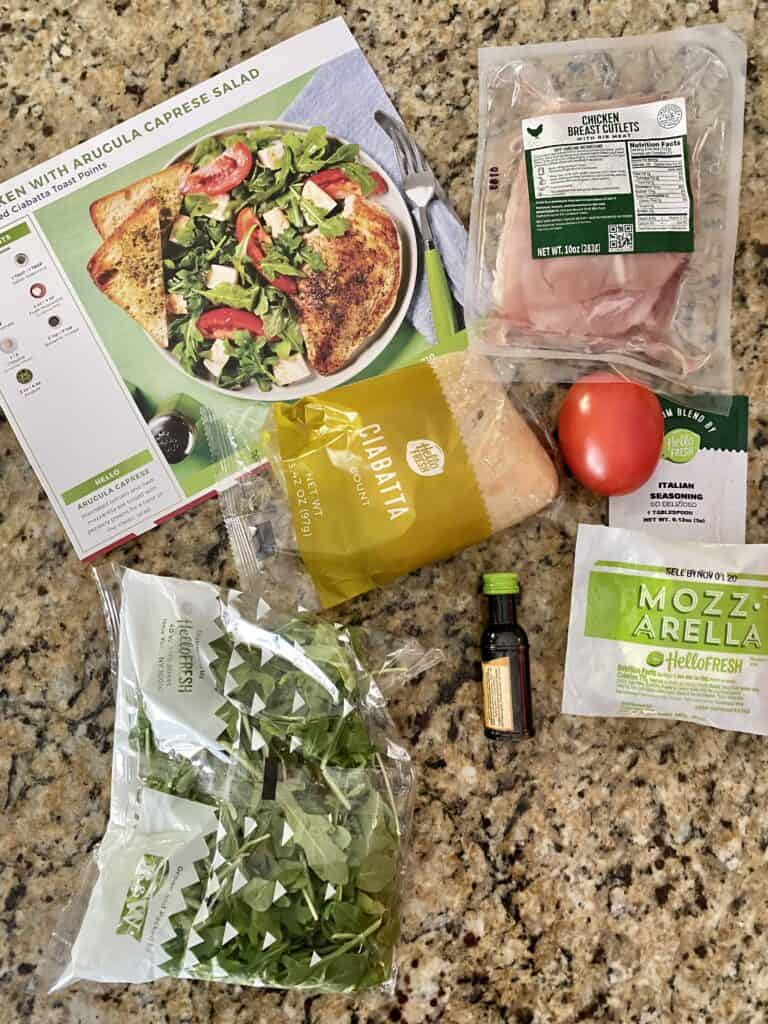 Ingredients for Chicken with Arugula Caprese Salad Hello fresh recipe