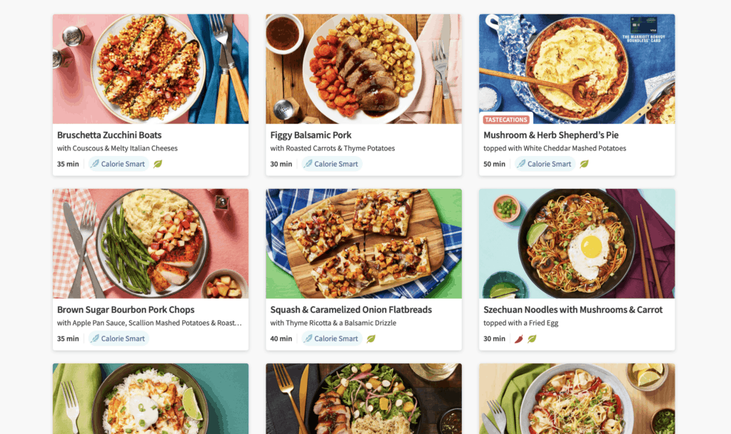 how to choose hello fresh meals from the website