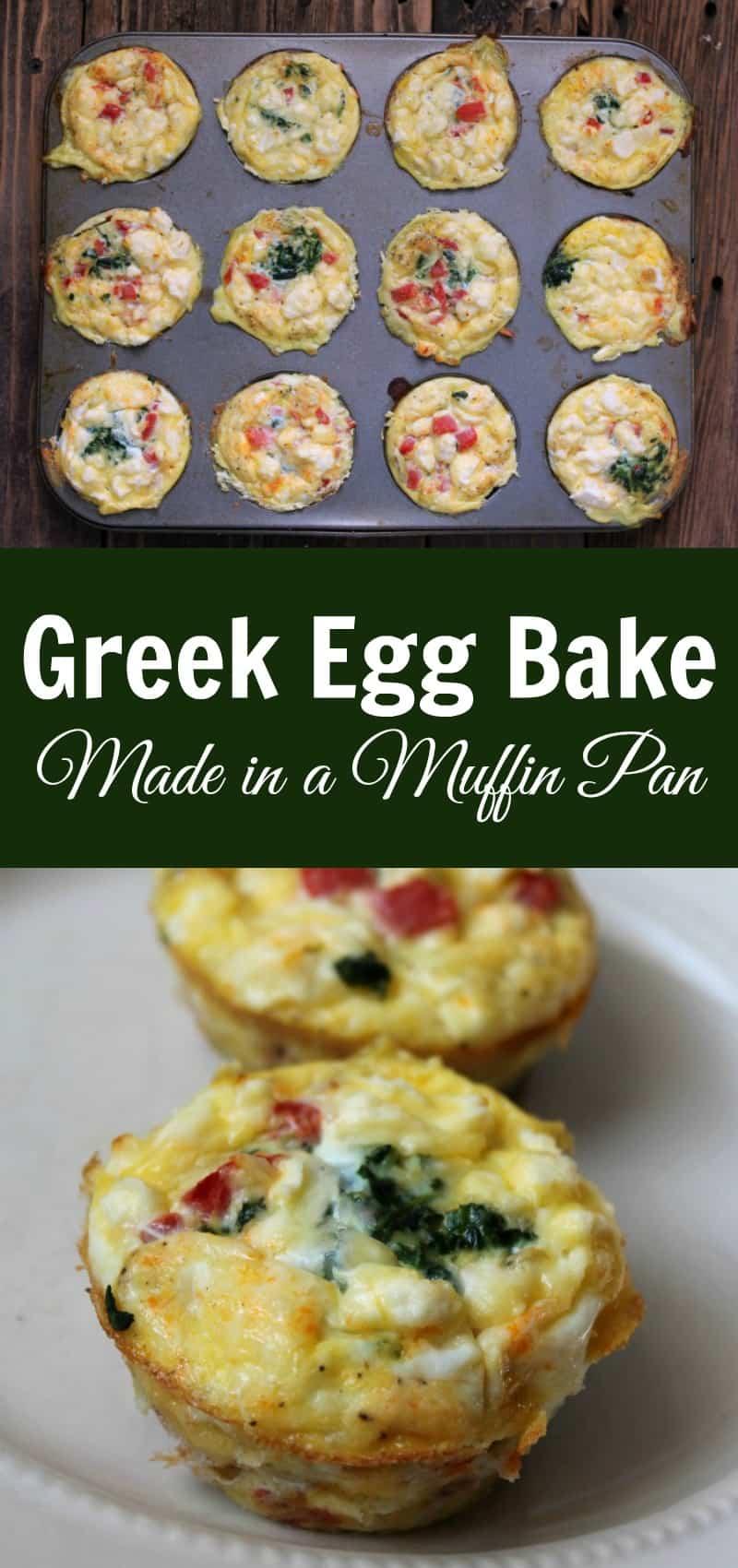 Make-ahead greek egg bake made in a muffin pan