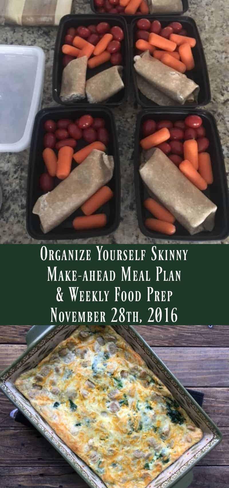Make-ahead Meal Plan and Weekly Food Prep {November 28th, 2016}
