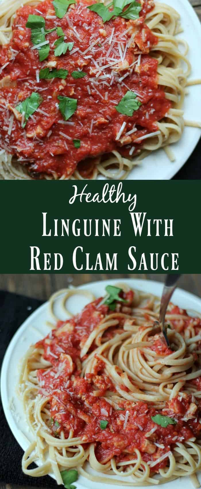 Healthy Linguine with red clam sauce. healthy pasta recipe