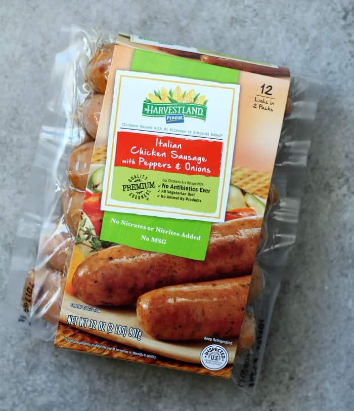 Package of Harvestland Perdue Italian Chicken Sausage with Peppers and Onions