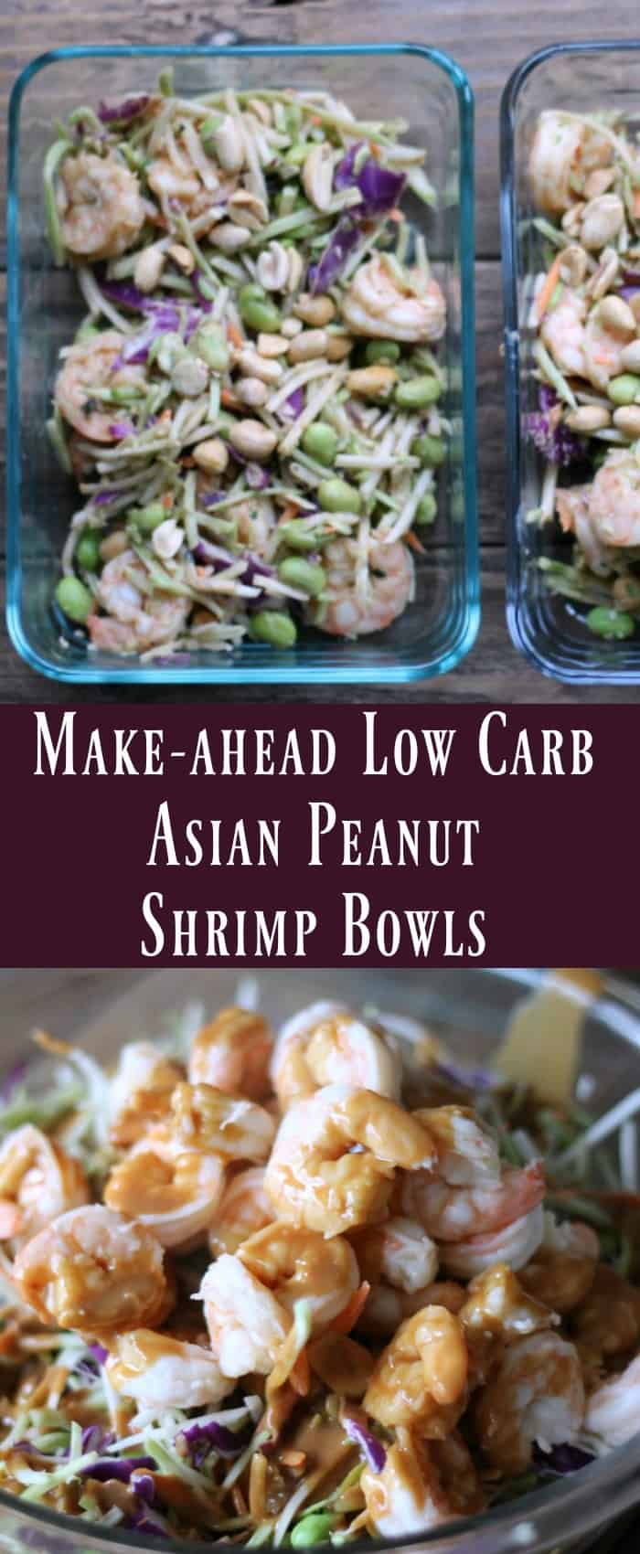 Make-ahead Low Carb Asian Peanut Shrimp Bowls