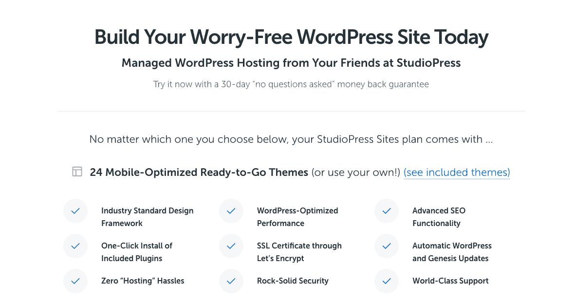 Studiopress managed hosting plan comparison