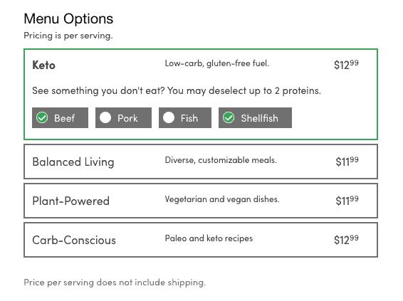 green chef menu prices