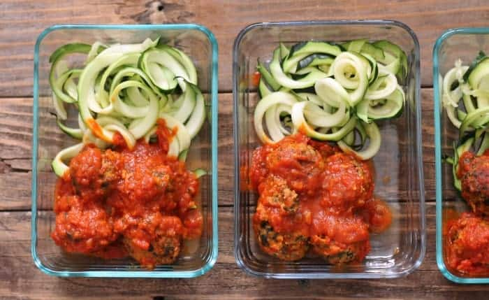 Meal Prep Idea: Spinach and Feta Turkey Meatballs with Zoodles