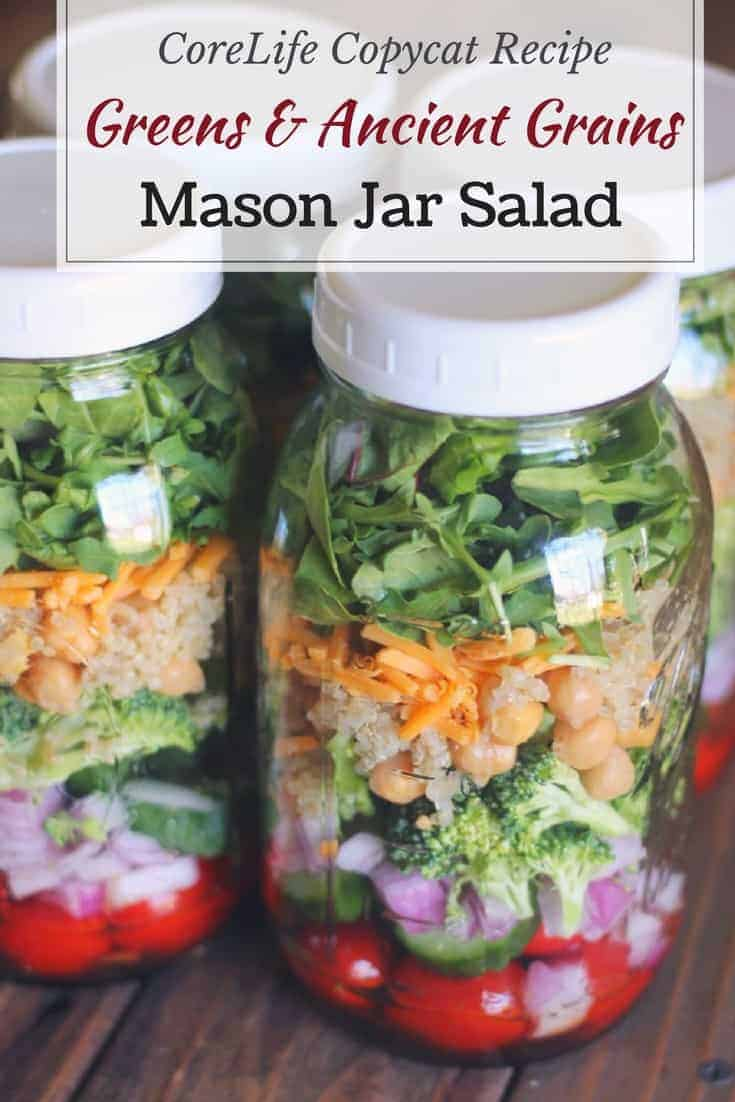 Mason Jar Salad: Greens & Ancient Grains (Copycat CoreLife Recipe)