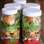 Dorito Taco Salad: Lightened-up salad in a jar recipe. Mason Jar Salad