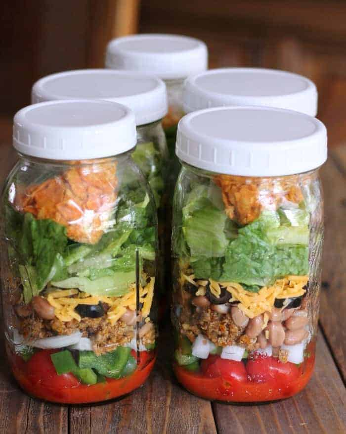 Dorito Taco Salad: Lightened-up Salad in a Jar Recipe