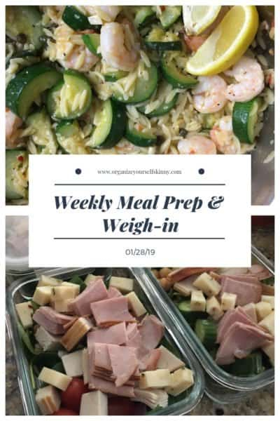 1500 Calorie Weekly Meal Plan, Prep, & Weigh In {January 28th, 2019}