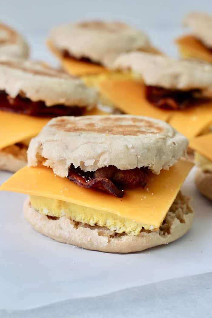 frozen breakfast sandwich as a part of meal prep for breakfast