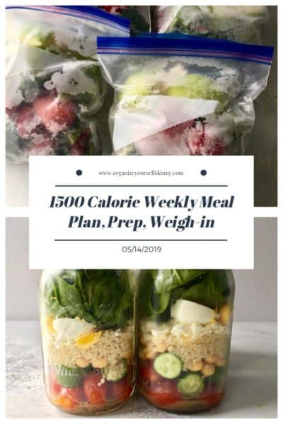 1500 Calorie Weekly Meal Plan, Food Prep, and Weigh-in {May 14th, 2019}