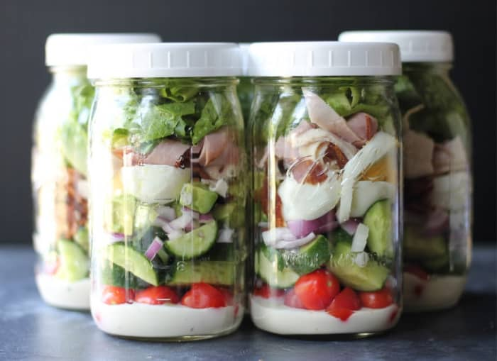 meal prepped mason jar salads